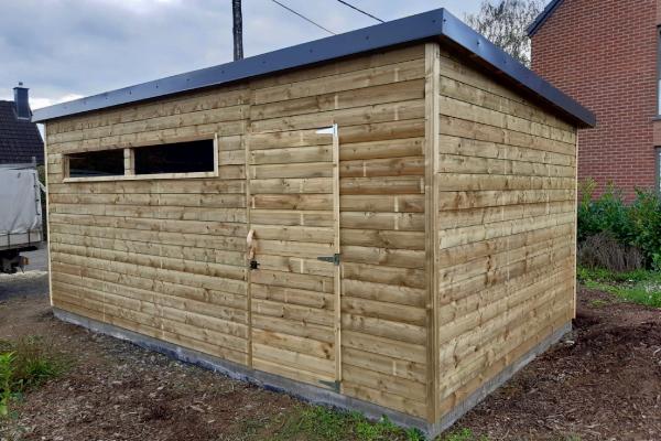 Garage-abri en bois réalisé à Sprimont